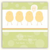 Green Polka Dot Chicks Square Sticker