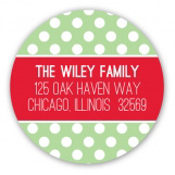 Green Polka Dot Christmas Tag Round Sticker