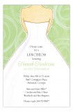 Green Swirls Wedding Dress Invitation