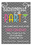 Grey Chevron Bachelorette Party Invitation