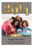 Grey Peace Love Cheer Photo Card