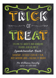 Halloween Trick or Treat Chalkboard Invitations