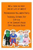Orange Costume Parade Halloween Party Invitations