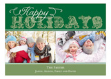 Happy Holidays Green Photo Card