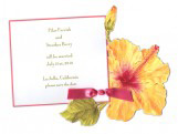 Orange Flower Hibiscus Invitations