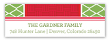 Holiday Green Diamonds Red Band Address Label
