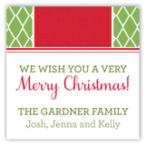 Holiday Green Diamonds Red Band Square Sticker
