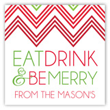 Holiday Red Green Chevron Square Sticker