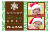 Holiday Snowflake Two Photo Card