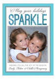 Holiday Blue Glitter Sparkle Photo Card