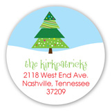 Holly Jolly Tree Round Sticker