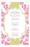 Hot Pink Floral Lime Dotted Stripe Invitation