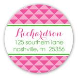 Hot Pink Modern Baby Carriage Round Sticker
