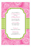 Hot Pink Paisley Lime White Dotted Stripe Invitation