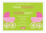 Hot Pink Twin Buggies Invitation