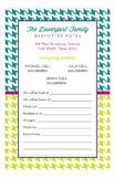 Houndstooth Babysitter Notepad