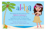 Aloha Hula Girl Birthday Invitations