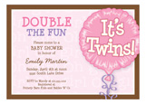 Its Twins Pink Invitation