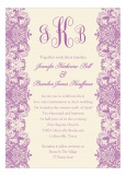 Ivory And Radiant Orchid Lace Quinceanera Invitation