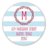 Joyful Blue Stripes Round Sticker