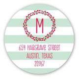 Joyful Green Stripes Round Sticker