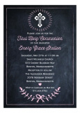 Chalkboard Pale Pink First Communion Invitation
