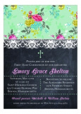 Floral, Lace and Chalkboard Invitation