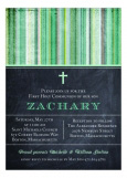 Chalkboard and Green Stripe First Communion Invitation