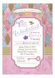 Pastel Harlequin Mad Tea Party Invitation