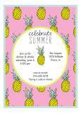 Pink Mod Pineapple Hawaiian Luau Invitations