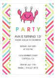 Pink Crab and Bright Graphics Party Invitation