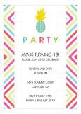 Pineapple and Bright Graphics Hawaiian Luau Invitations