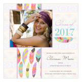 Tribal Band of Feathers Graduation Announcement Square Photo Card