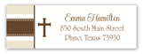 Khaki Stripe Cross Address Label
