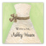 Lace Bride Green Square Sticker