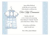 Laurel Christening Blue Outfit Invitation