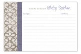 Lavender Damask Cloth Recipe Card