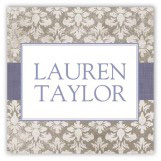 Lavender Damask Cloth Square Sticker