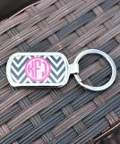 Chevron Black Circle Hot Pink Keychain