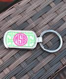 Chevron Lime Circle Hot Pink Keychain