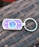 Chevron Purple Circle Aqua Keychain
