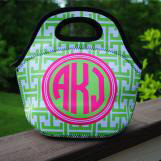 Greek Key Lunch Tote with Monogram