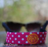 Polka Dot Pink Circle Yellow Monogram Sunglasses Wrap
