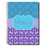 Purple Quatrefoil Personalized Notebook