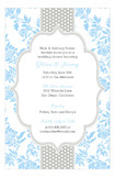 Light Blue Floral Gray Dotted Stripe Invitation