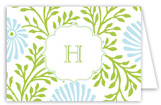 Lime Blue Floral Folded Note Card