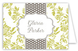 Lime Floral Gray Dotted Stripe Folded Note Card