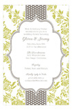 Lime Floral Gray Dotted Stripe Invitation