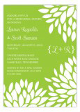 Lime Green Flower Petals Invitation