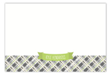 Lime Plaid Banner Flat Note Card